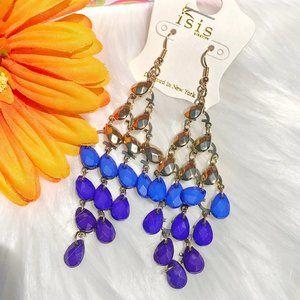 Boho Earrings Long Festival Bead Dangles Blue NWT